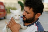 24 Sep 2014, Aleppo, Syria     Alaa, an ambulance driver, carries a cat in Masaken Hanano in Aleppo, September 24, 2014. Alaa buys about $4 of meat everyday to feed about 150 abandoned cats in Masaken Hanano, a neigbourhood in Aleppo that has been abandoned because of shelling from forces loyal to Syria's president Bashar Al Assad on it. Alaa said that he has been feeding and taking care of the cats for over 2 months. REUTERS/Hosam Katan (SYRIA   Tags: POLITICS CIVIL UNREST CONFLICT ANIMALS)     Image by © HOSAM KATAN/Reuters/Corbis